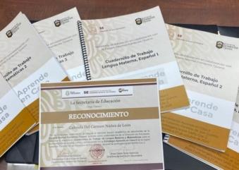 Entrega virtual de reconocimientos de Gobierno del estado a la ENFT por la  aportación de cuadernillos «Aprende en casa».